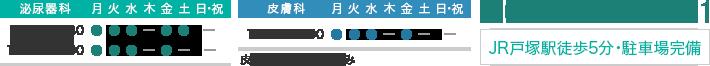 診療時間:泌尿器科9:30-12:30 15:00-18:00 皮膚科10:00-12:00 休診日:木・土曜午後・日祝日 TEL:045-862-5001 JR戸塚駅徒歩5分・駐車場完備